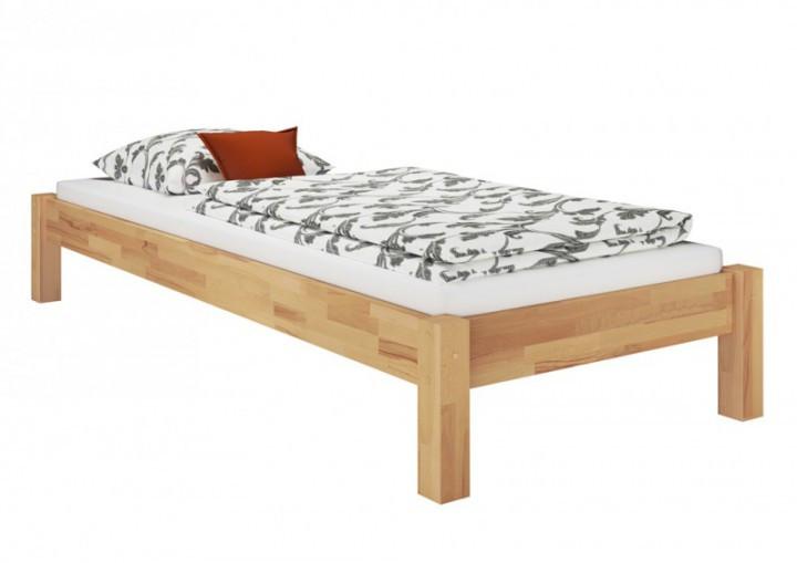 Bett 80x200  Holzbett Einzelbett 100x200 Buchebett natur massiv