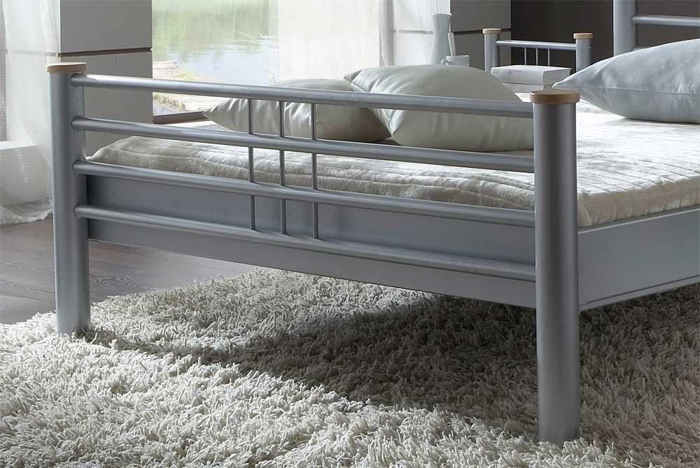 Bett Metall  1A Bett aus Metall in Silber Susana