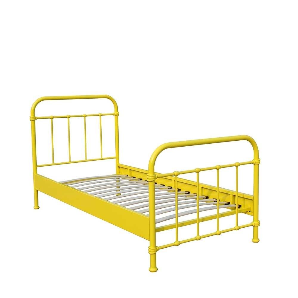 Bett Metall  Bett Merlan in Gelb aus Metall