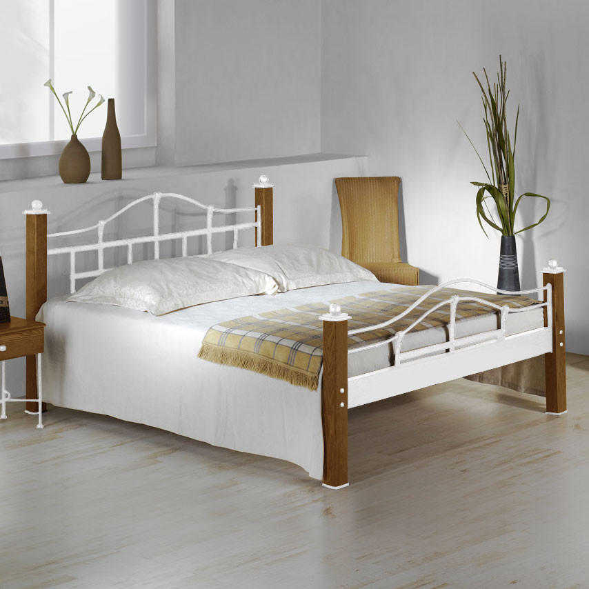 Bett Metall  Metallbett im Landhausstil aus Eiche 180x200 cm Sinja
