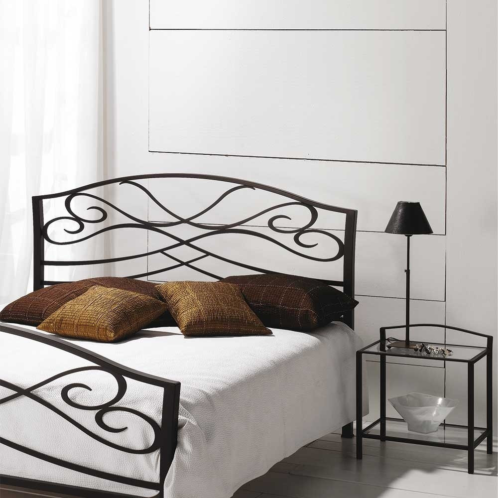 Bett Metall  Landhaus Bett Ilitalcon in Braun aus Metall