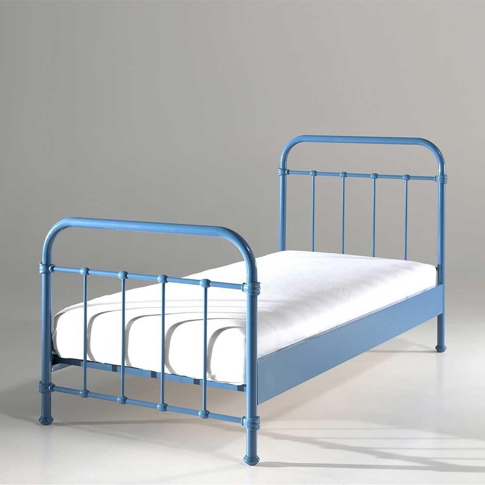 Bett Metall  Bett Meridus in Blau aus Metall