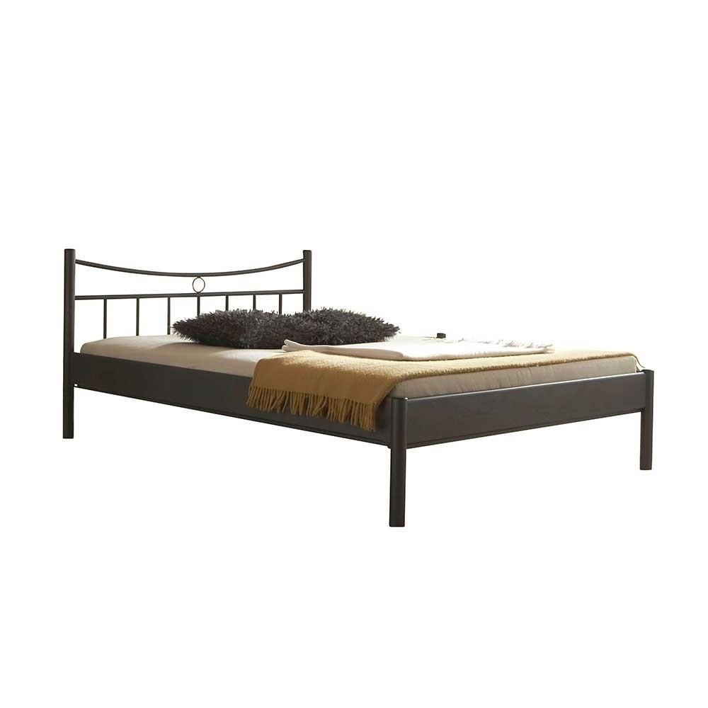 Bett Metall  Top Bett aus Metall in Dunkelgrau Regina