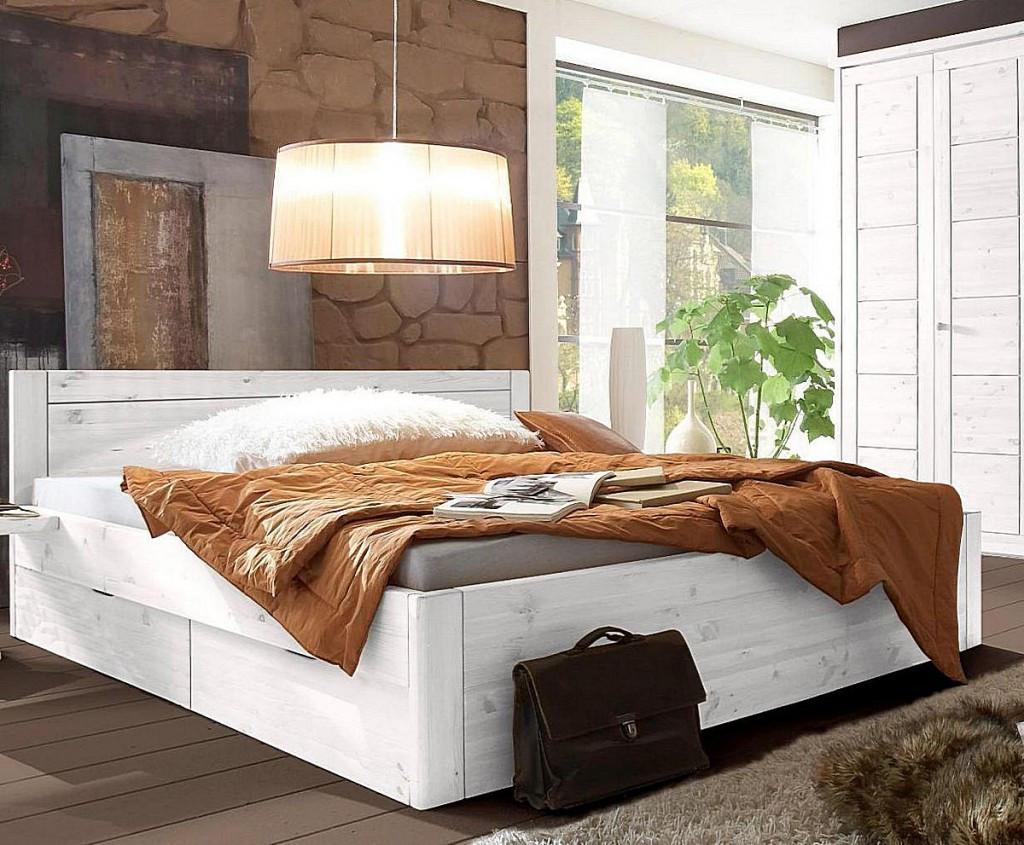 Bett Mit Schubladen 180x200  Bett 180x200 4 Schubladen Komforthöhe 45cm Kiefer