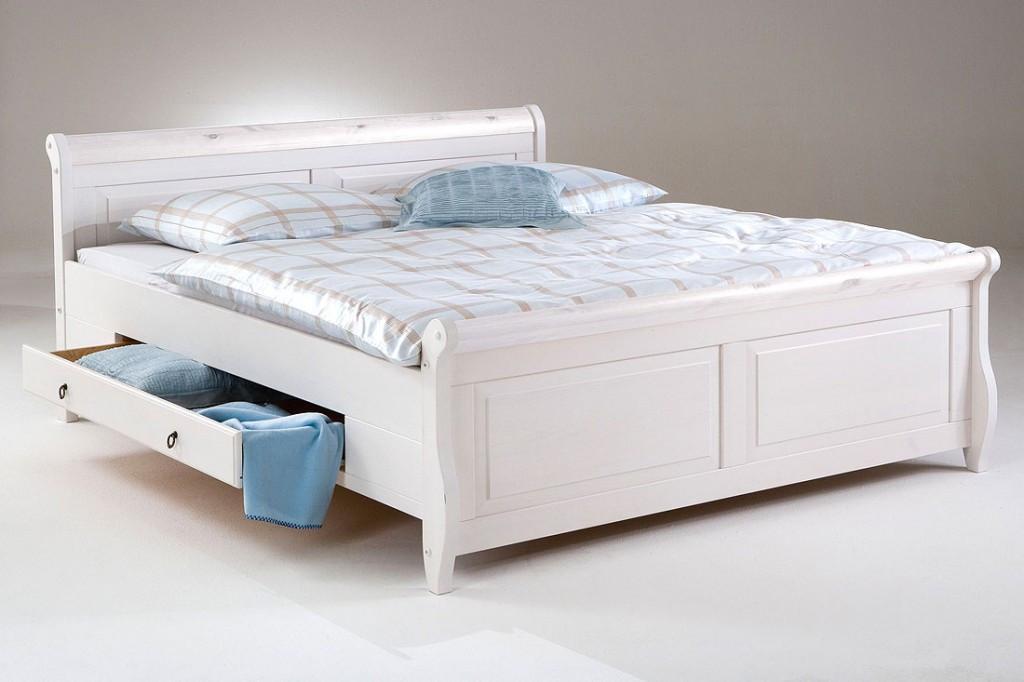 Bett Mit Schubladen 180x200  Bett mit Schubladen 180x200 weiß Holzbett Kiefer massiv Poarta