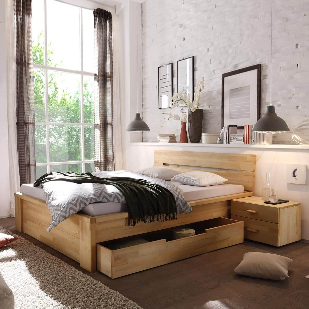 Bett Mit Schubladen 180x200  Bett Roros 180x200 mit Schubladen in Kernbuche massiv geölt