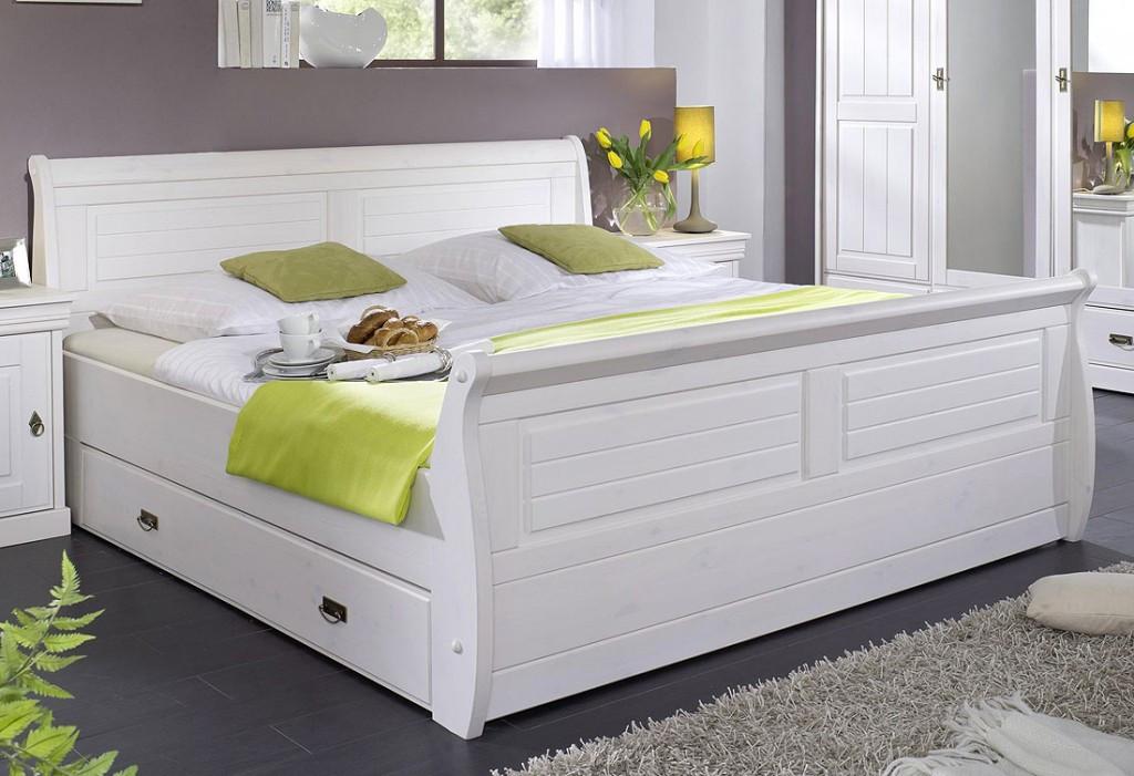 Bett Mit Schubladen 180x200  Bett 180x200 mit 2 Schubladen Kiefer massiv weiß gewachst
