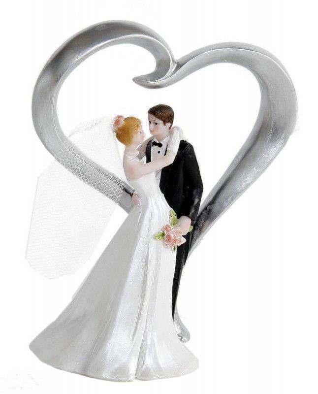 Brautpaar Hochzeitstorte  Figur Zierfigur Tortenfigur BRAUTPAAR HERZ Hochzeit