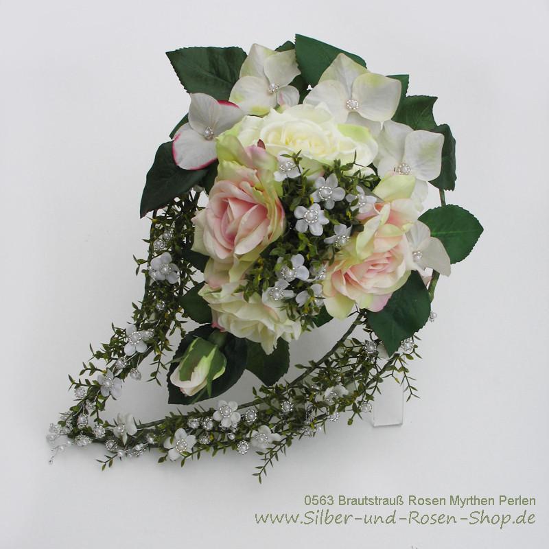 Brautstrauß Bestellen  Brautstrauß Rosen Myrthen Perlen aus Seidenblumen bestellen