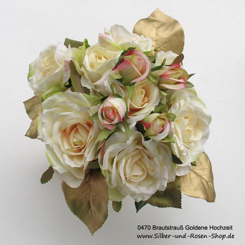 Brautstrauß Bestellen  Brautstrauß Goldene Hochzeit aus Seidenblumen online bestellen