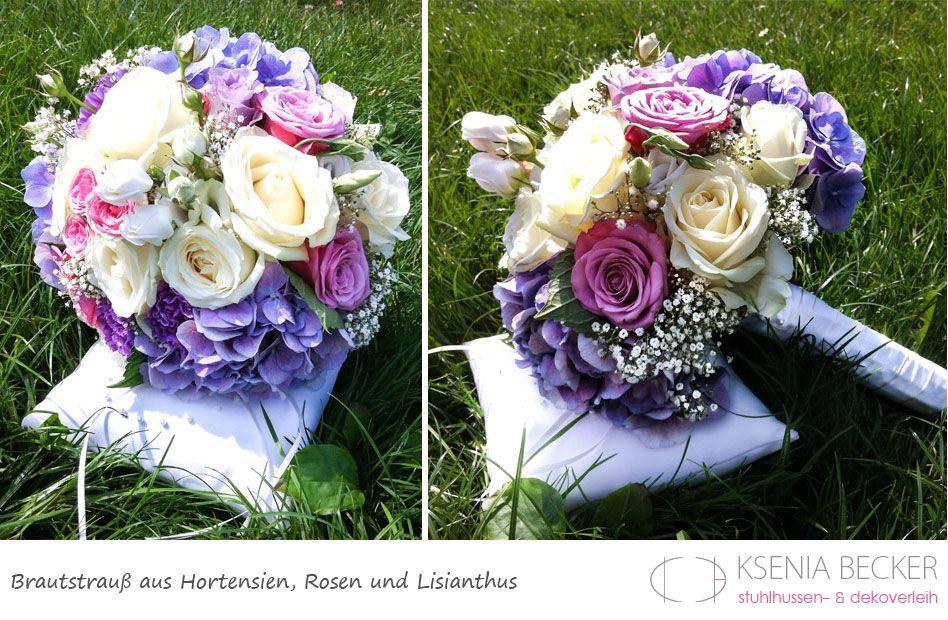 Brautstrauß Hortensien  brautstrauss rund hortensien nelken schleierkraut rosen