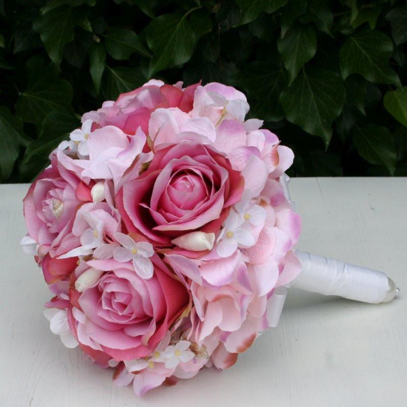 Brautstrauß Mit Hortensien  Brautstrauß Biedermeier Seidenblumen rosa Rosen Hortensien