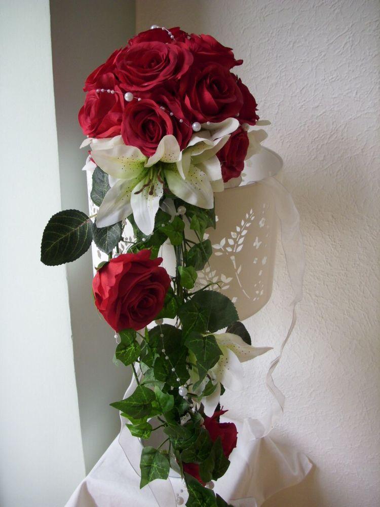 Brautstrauß Rot  BRAUTSTRAUSS Standesamt Wurfstrauss Rose Lilie rot weiss