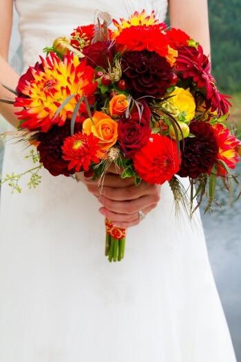 Brautstrauß Rot  Brautstrauß Gelb Rot