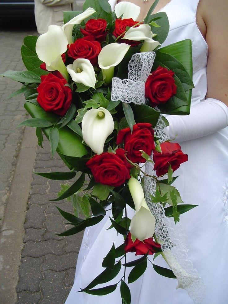 Brautstrauß Rote Rosen  Brautstrauß weiße Calla mit roten Rosen