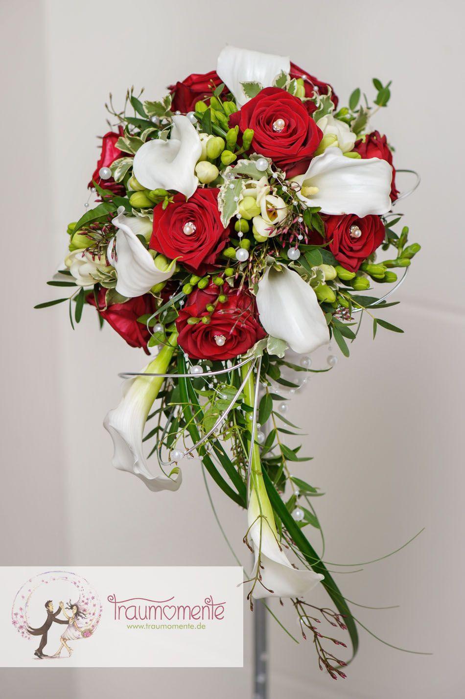 Brautstrauß Rote Rosen  Brautstrauss mit Callas und Rosen