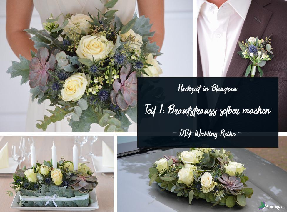 Brautstrauß Selber Binden  Blaugrauen Brautstrauß selber binden – DIY Hochzeits Reihe