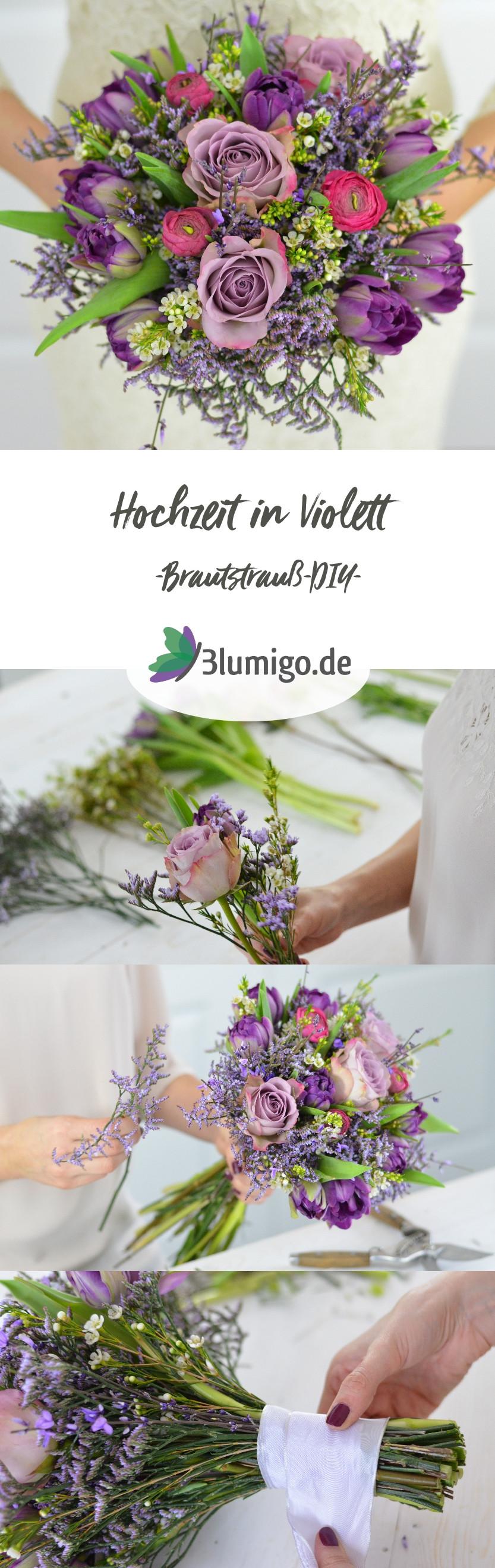 Brautstrauß Selber Binden  Hochzeit in der Trendfarbe Ultra Violett – Teil 1