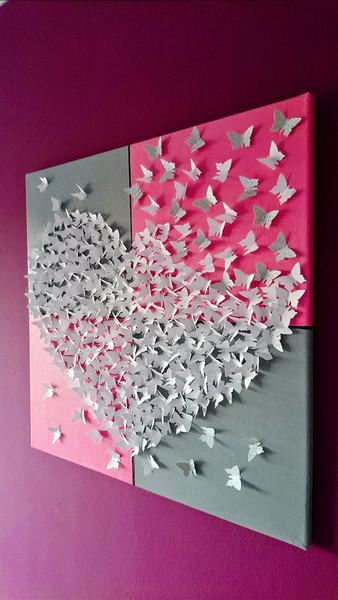 Butterfly Geschenke  Wanddeko 3D Schmetterlingsherz Bild auf Leinwand ein