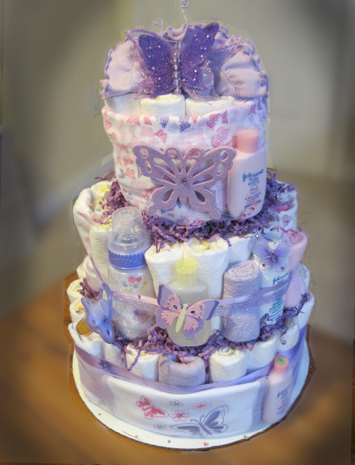 Butterfly Geschenke  Purple Butterfly Baby Shower Diaper Cake by Smurfetterocks