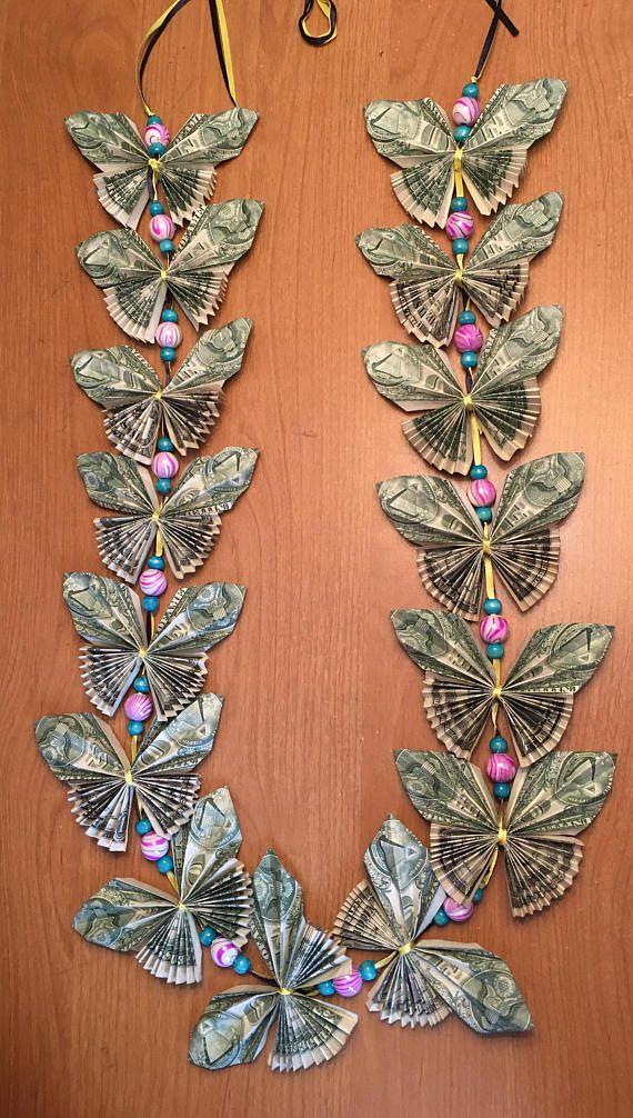 Butterfly Geschenke  Butterfly money lei with beads Luau