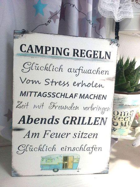 Camping Geschenke  Tür & Namensschilder Camping Regeln Schild Wohnwagen