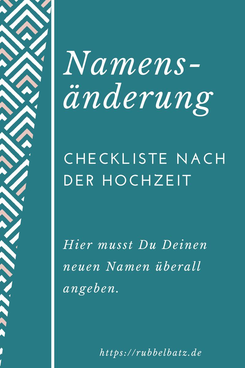 Checkliste Nach Der Hochzeit Ohne Namensänderung  Checkliste für Namensänderung nach Hochzeit