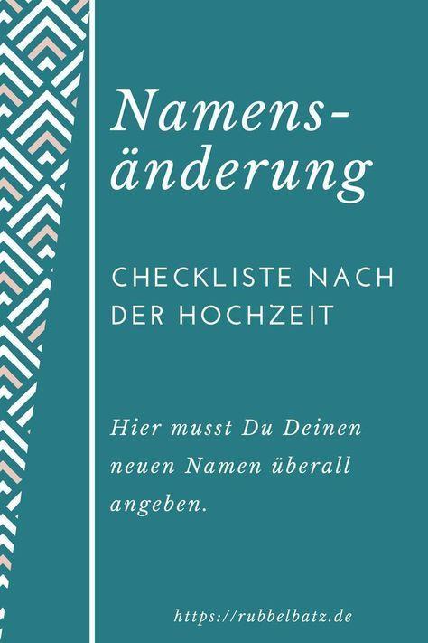 Checkliste Namensänderung Nach Hochzeit  Checkliste für Namensänderung nach Hochzeit