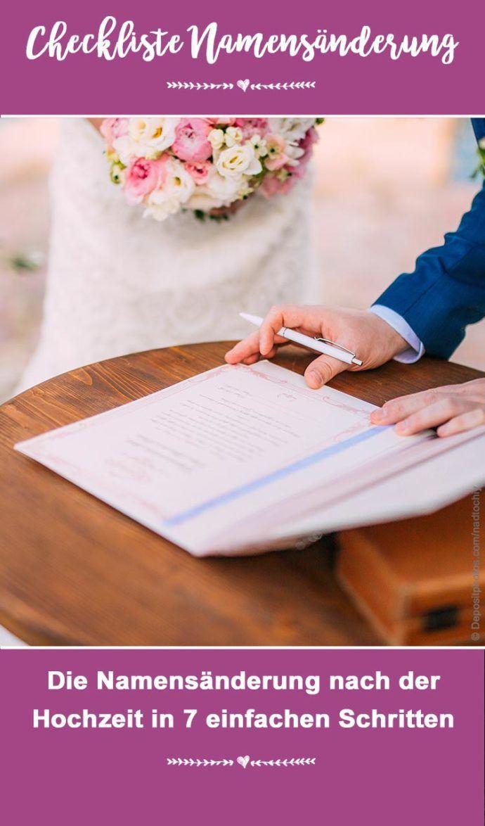 Checkliste Namensänderung Nach Hochzeit  Checkliste Hochzeitstipps