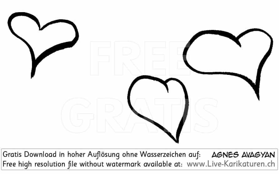 Clipart Hochzeit Schwarz Weiß  Herzen Liebe gezeichnet schwarzweiss 3 Gruppe — Agnes Live