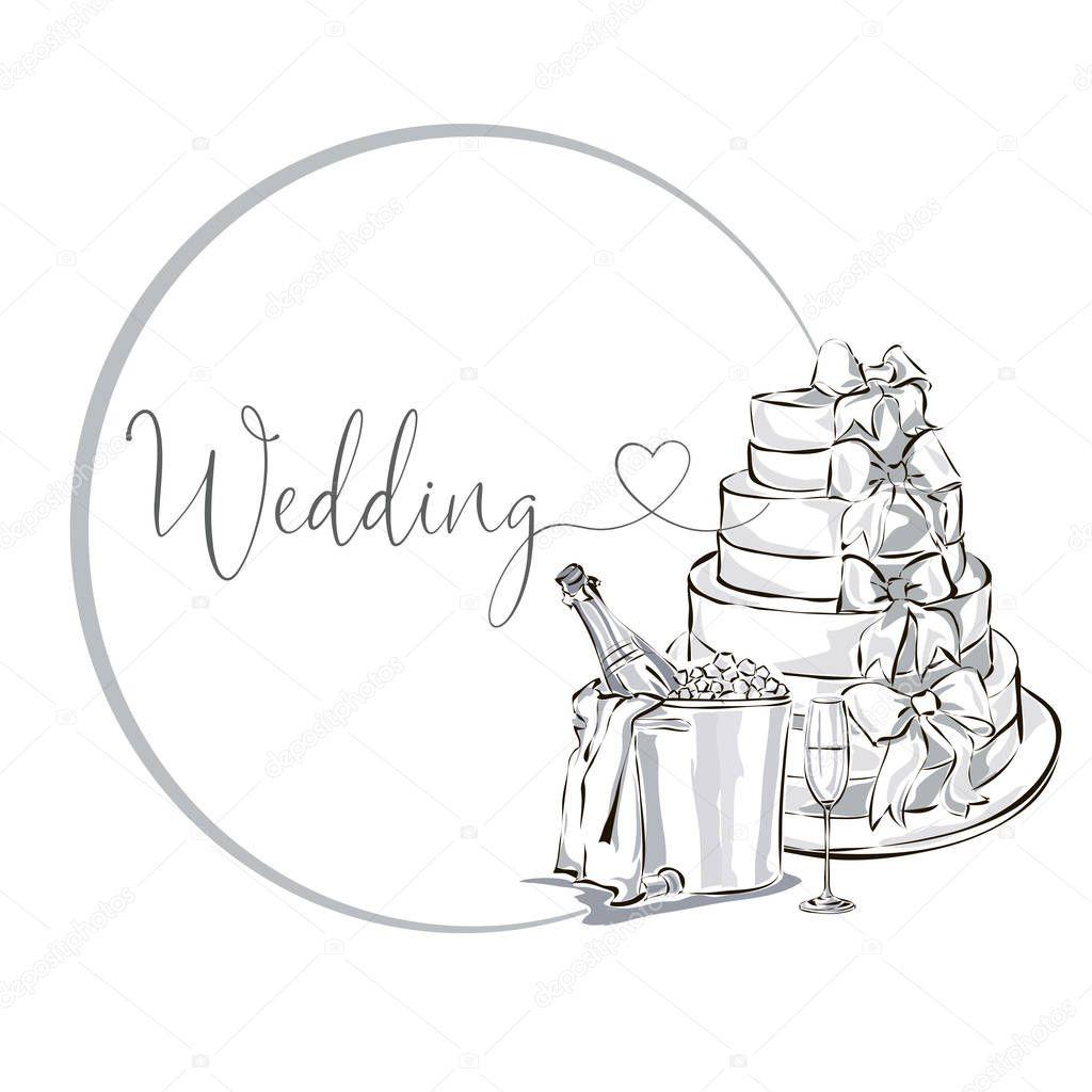 Clipart Hochzeit Schwarz Weiß  Hochzeit ClipArt set mit Sektflasche im Eiskübel Weinglas