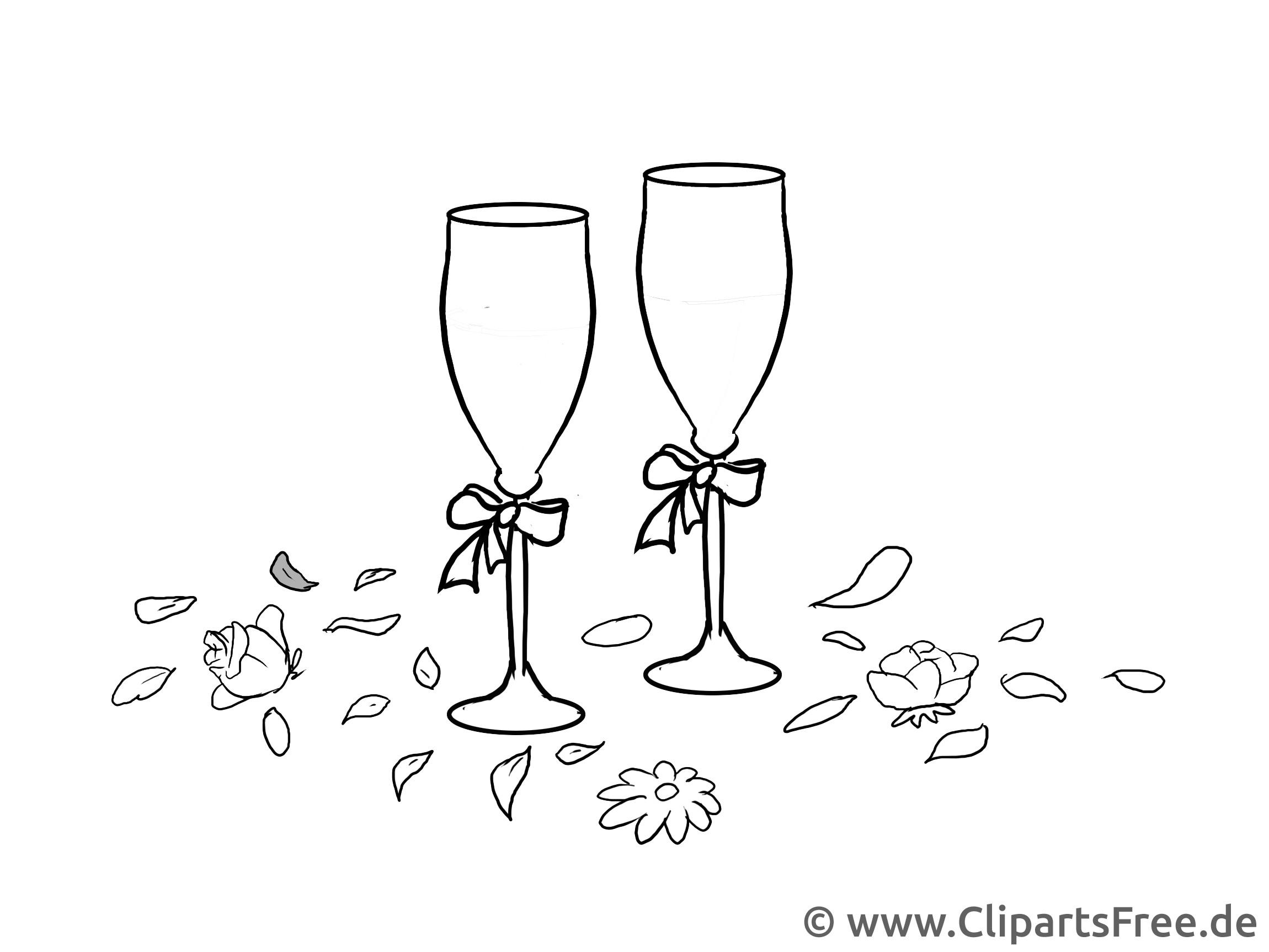 Clipart Hochzeit Schwarz Weiß  Champagnergläser Illustration Clipart Grafik schwarz weiß