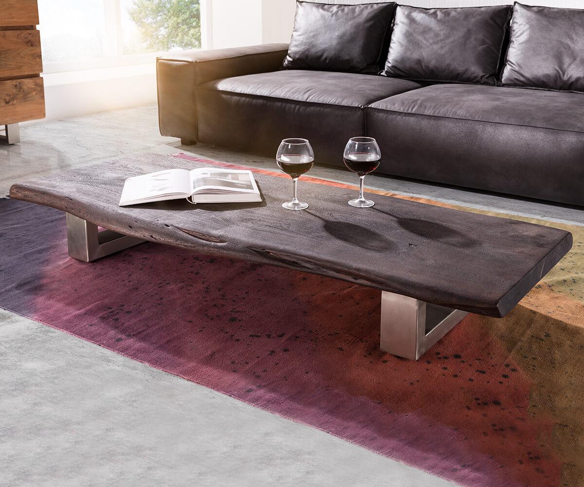 Couchtisch Akazie  Couchtisch Live Edge 165x60 cm Akazie Tabak Kufenfuß Möbel