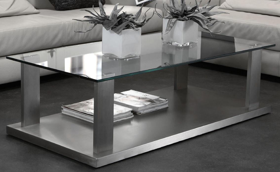 Couchtisch Glas Edelstahl  Edelstahl Couchtisch modern mit Platte Sicherheitsglas