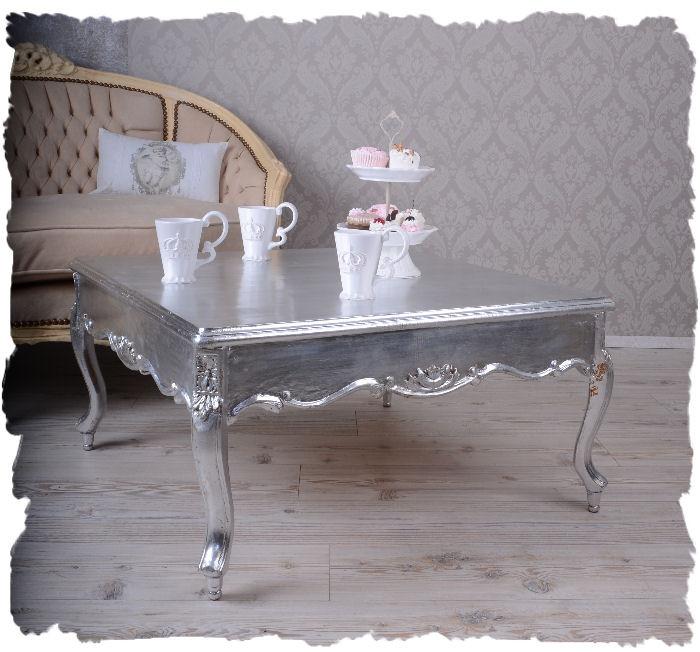 Couchtisch Silber  Wohnzimmertisch antik Stil massiv Mahagoni Holz Couchtisch