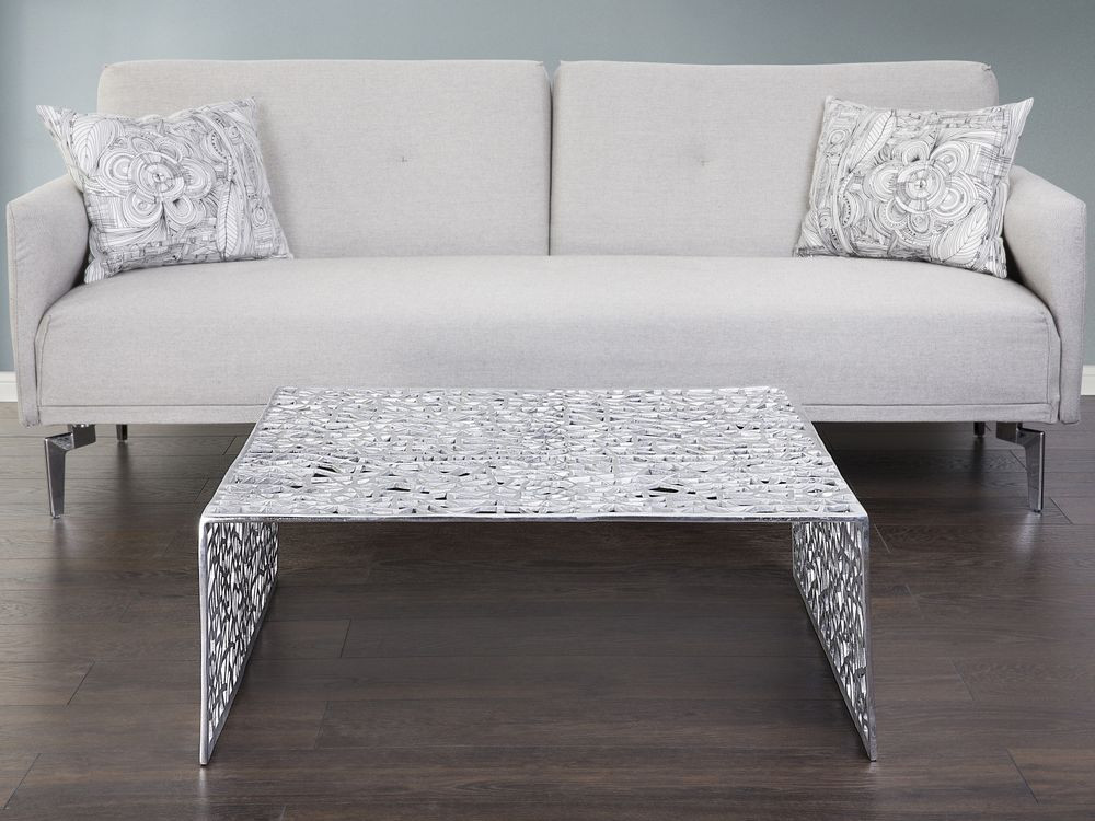 Couchtisch Silber  Couchtisch Aluminium Beistelltisch silber
