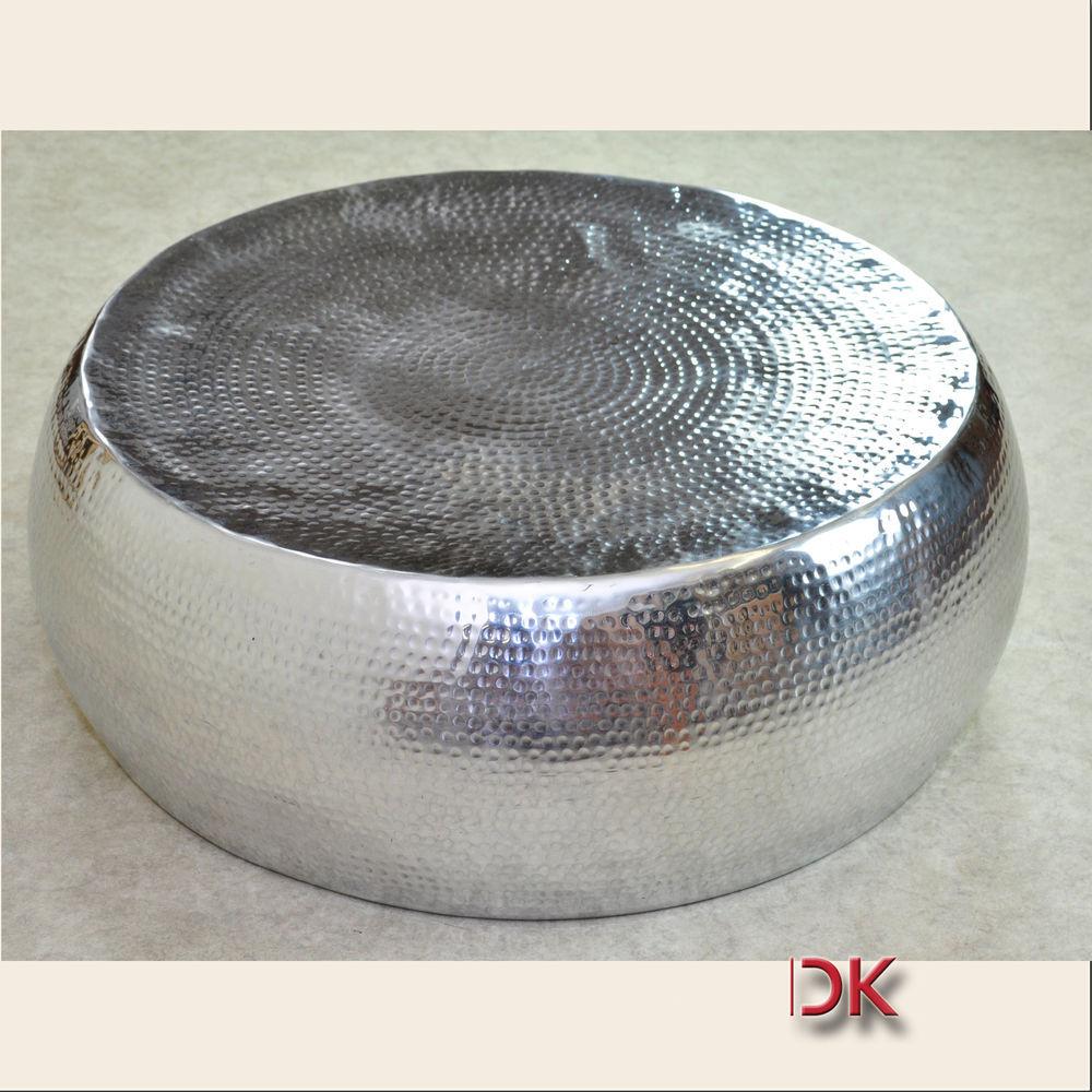 Couchtisch Silber  Couchtisch Metal Tisch Beistelltisch rund 83 H29cm silber