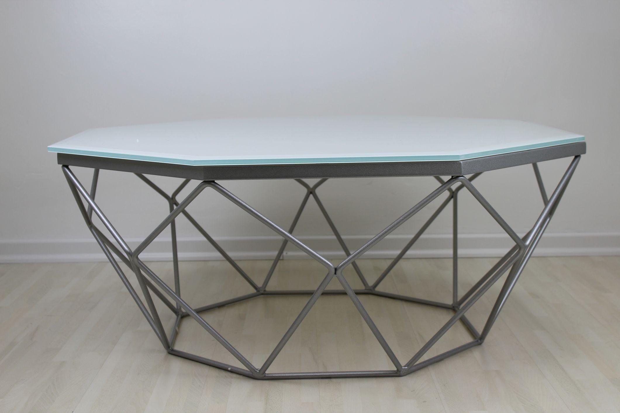 Couchtisch Silber  Couchtisch Silber Weiß Glas Wohnzimmer Tisch Metall