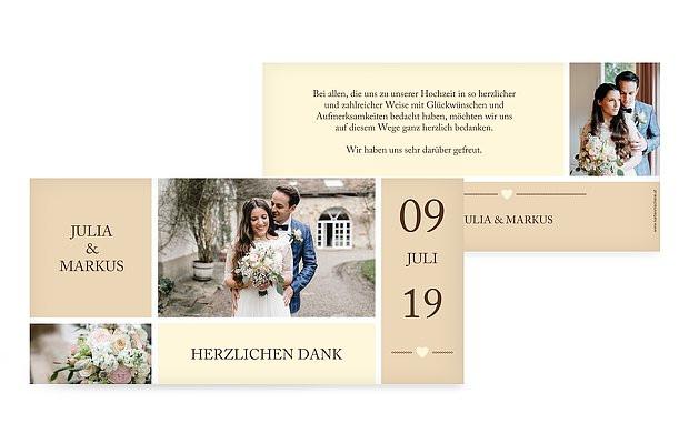 "Dankeskarte Hochzeit Text  Dankeskarte Hochzeit ""Herzenszeit"""