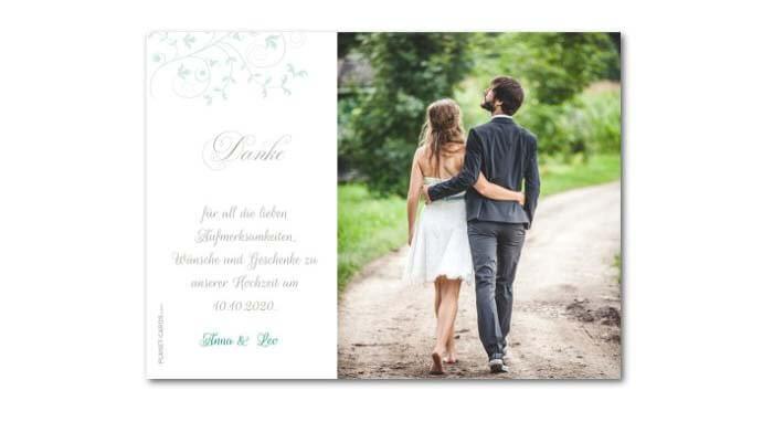 Danksagungskarten Hochzeit Günstig  Dankeskarten Hochzeit
