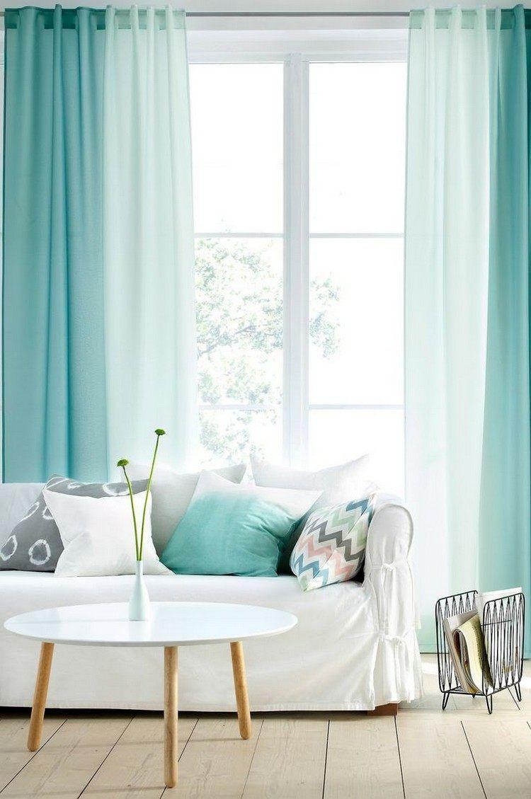 Deko Für Wohnzimmer  Gardinen in mintgrün mit Ombre Effekt