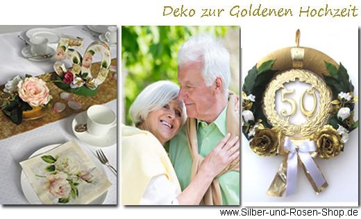 Deko Goldene Hochzeit  Deko Goldene Hochzeit Silber und Rosen Shop