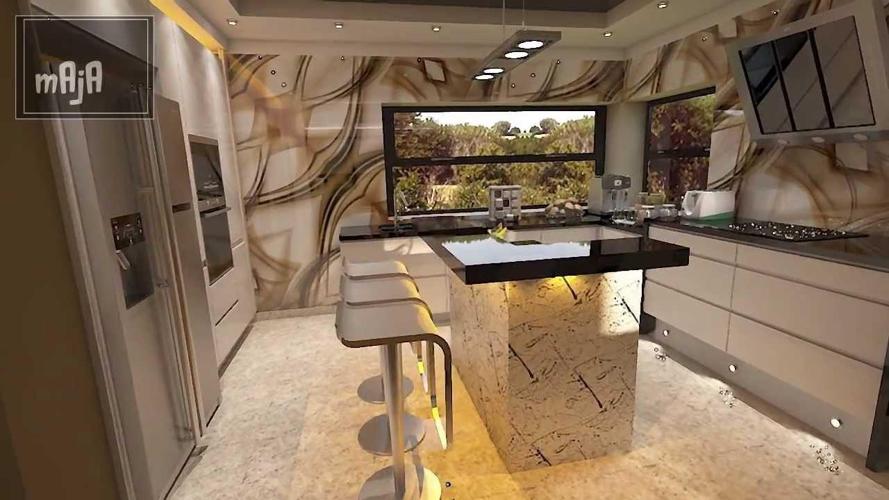 Design Wohnzimmer  Design Wohnzimmer kombiniert mit Küche