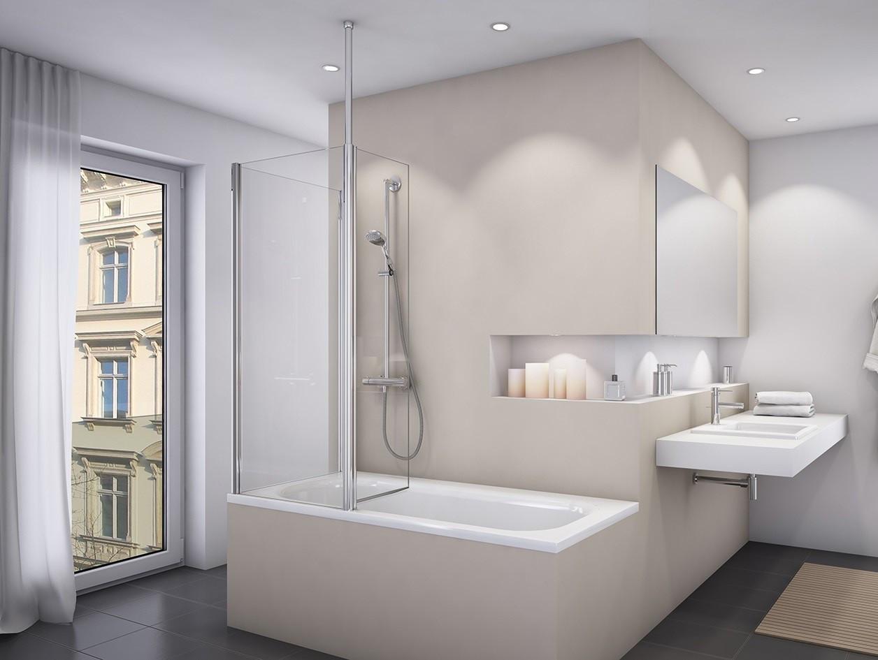 Duschabtrennung Badewanne  Duschabtrennung Badewanne mit Seitenwand mit beweglichem