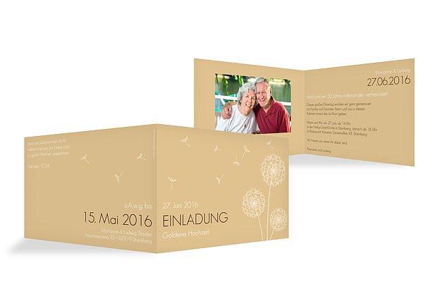 """Einladung Goldene Hochzeit  Einladung Goldene Hochzeit """"Pusteblume"""""""