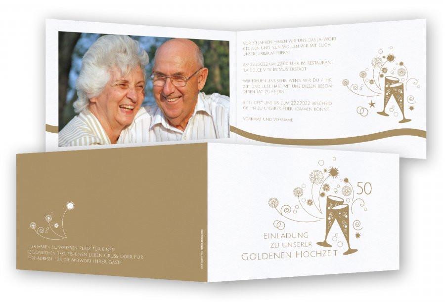 Einladungskarten Zur Goldenen Hochzeit  Einladung Goldene Hochzeit