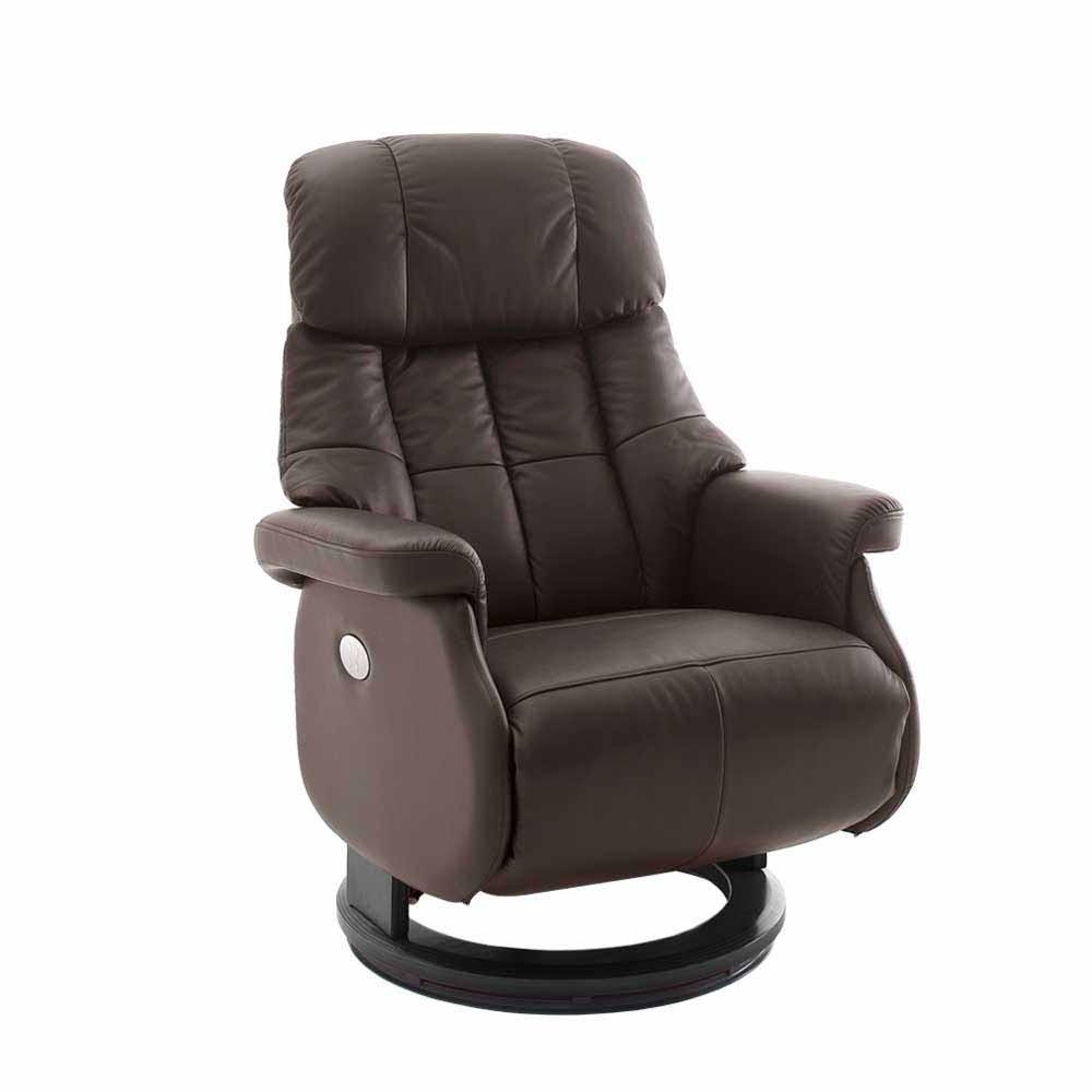 Elektrischer Sessel  Brauner Leder Sessel mit elektrischer Verstellung auf