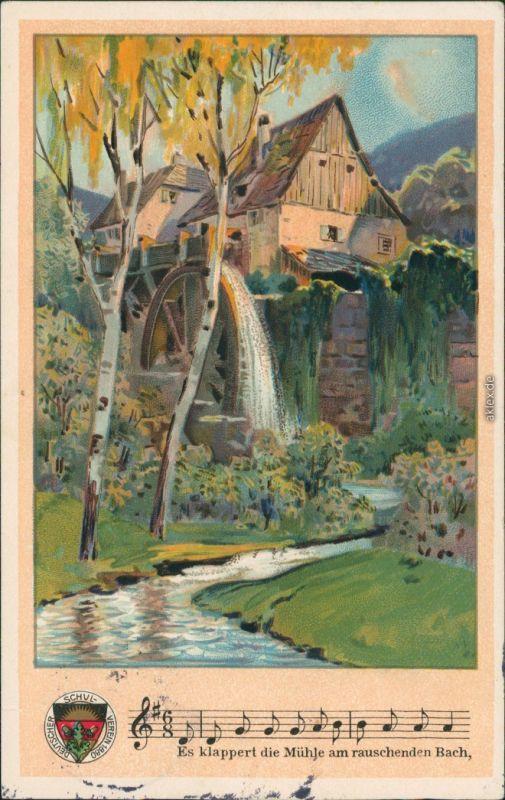 Es Klappert Die Mühle Am Rauschenden Bach  Ansichtskarte Liedkarten Es klappert Mühle am
