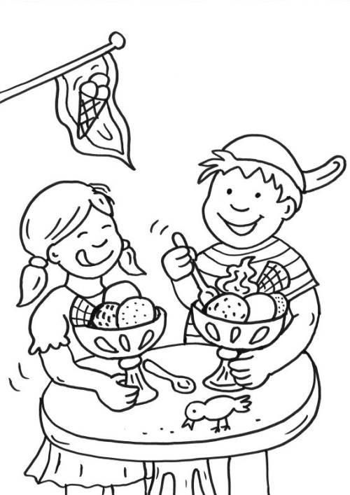 Essen Ausmalbilder  Kostenlose Malvorlage Sommer Kinder in der Eis le
