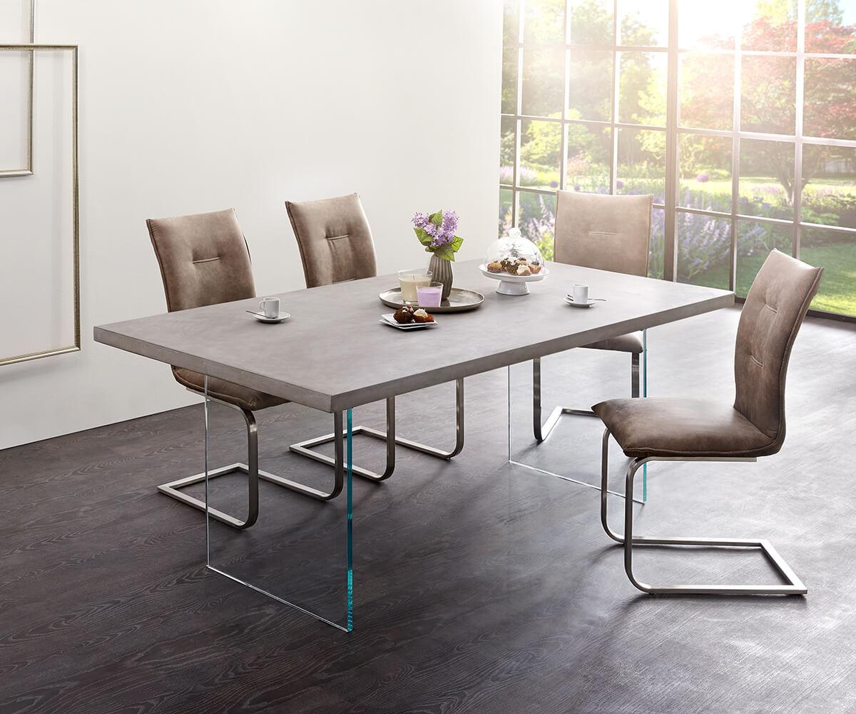 Esstisch 200x100  Esstisch Crudo 200x100 cm Grau Beton Glasbeine Möbel
